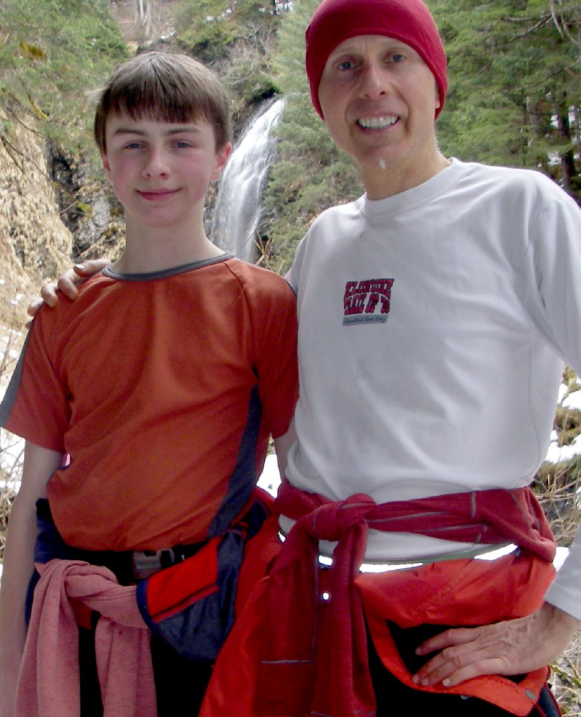 Brett and David Wilcox at Indian River Falls in Sitka, Alaska